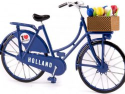 Miniatuurfiets - Holland - Tulpen - Blauw